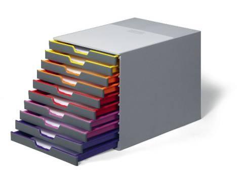 Schubladenbox 10er geschlossen farbig