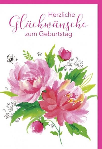 Karte Geburtstag Motiv Blumen pink