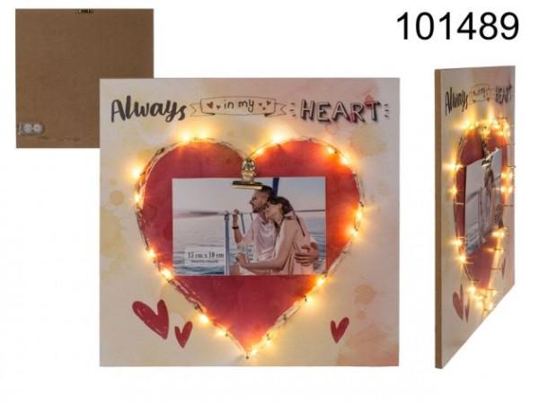 Holzbild mit rotem Herz, Clip-Halter für eine Bild und 18er LED-Beleuchtung