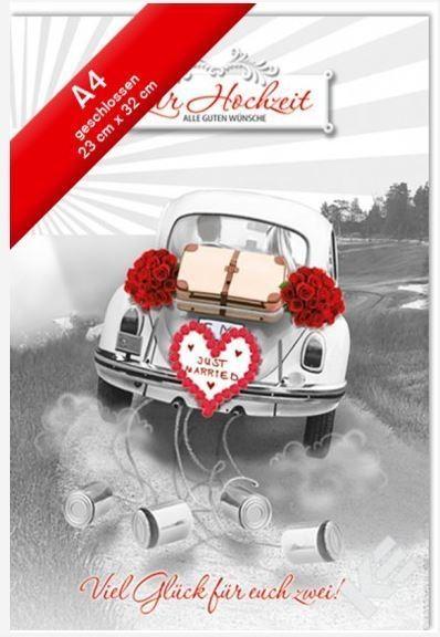 Hochzeitskarte XXL Jumbo - Din A4 - Auto geschmückt mit Blumen und Blechdosen